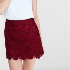 ✨NWT✨ Express Skirt, Size 0, Burgundy Lace